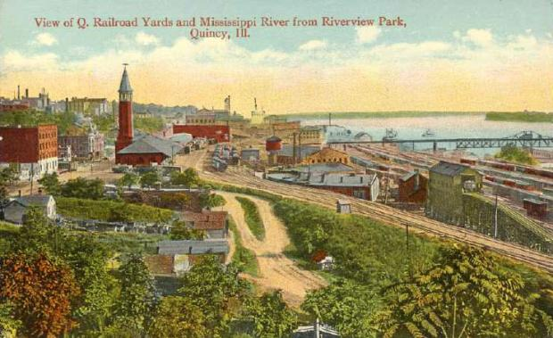 View of Q. Railroad Yards and Mississippi River from Riverside Park, Quincy, Illinois.preview